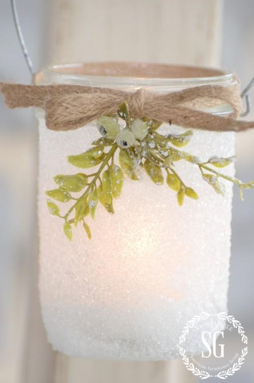 FROSTY MASON JAR LANTERNS-made with mason jars and epson salt-stonegablog.com