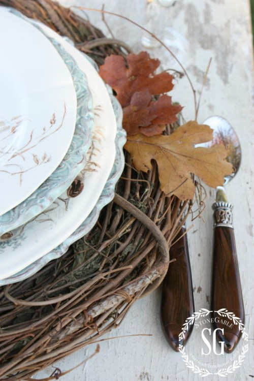 Grapevine wreaths as chargers-thanksgiving-stonegableblog