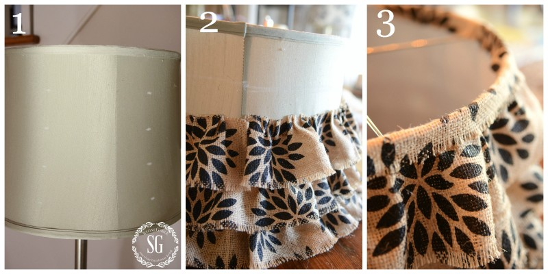 NO SEW RUFFLED BURLAP LAMPSHADE-instructions 1 to 3-stonegableblog.com