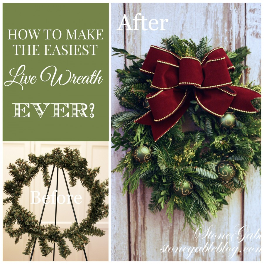 THE EASIEST WAY TO MAKE A LIVE WREATH-before and afer-stonegableblog.com