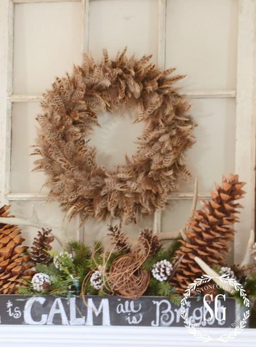 WOODLAND MANTEL-feather wreath-stonegableblog.com