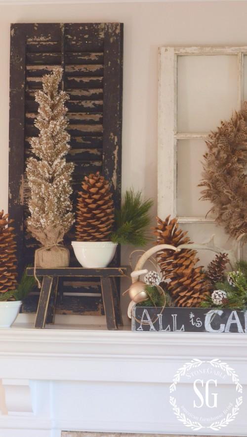 WOODLAND MANTEL-snowy trees-sugar pinecones-stonegableblog.com
