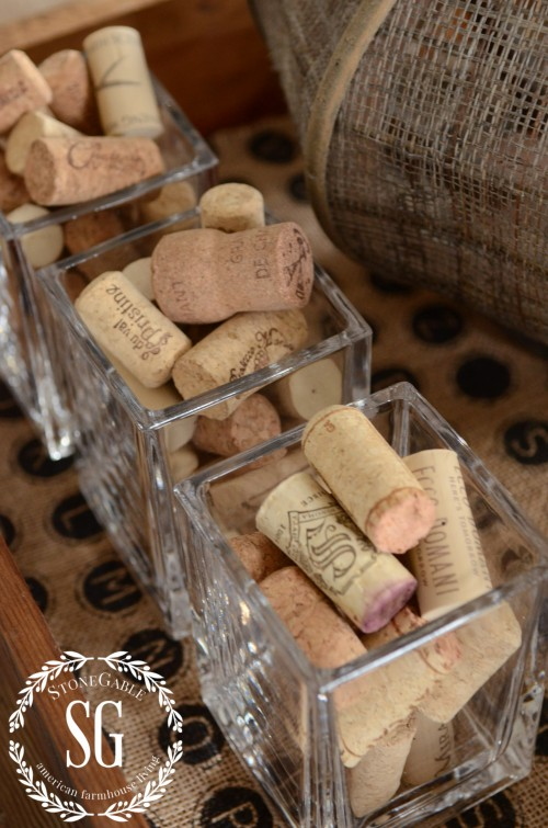 WORKING WITH TRAYS-corks in glasses-stonegableblog