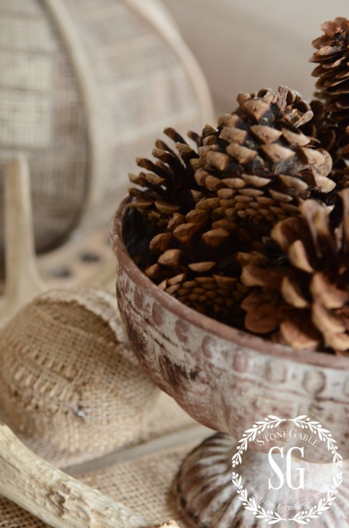 WORKING WITH TRAYS-pinecones-deer sheds-stonegableblog