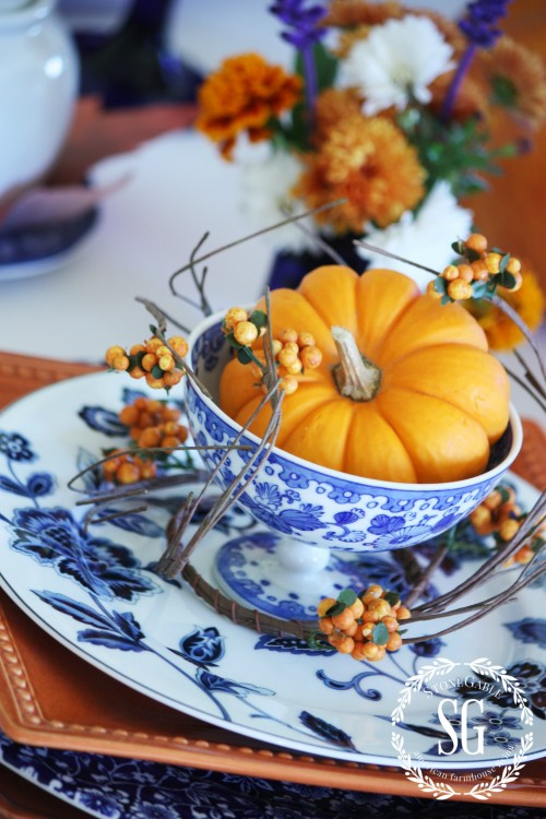 pumpkin in little footed bowl-thanksgiving-stonegableblog