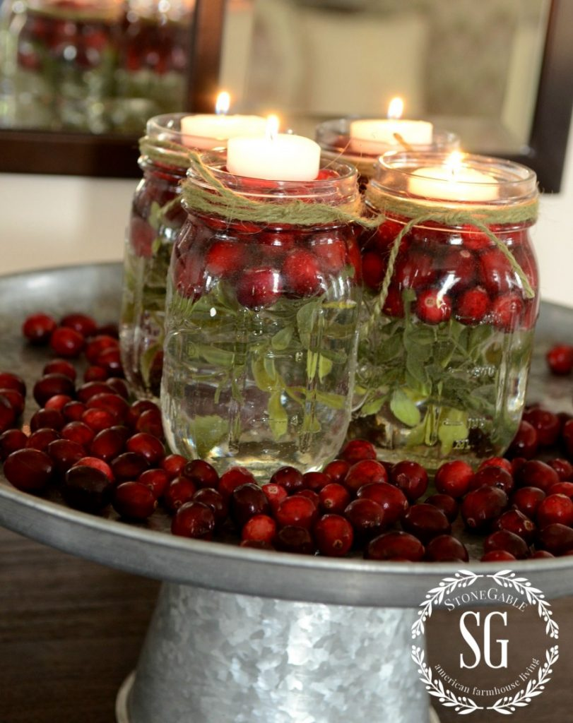 BETTER LATE THAN NEVER-MASON JARS IN TEA LIGHTS- cranberries-stonegableblog.com