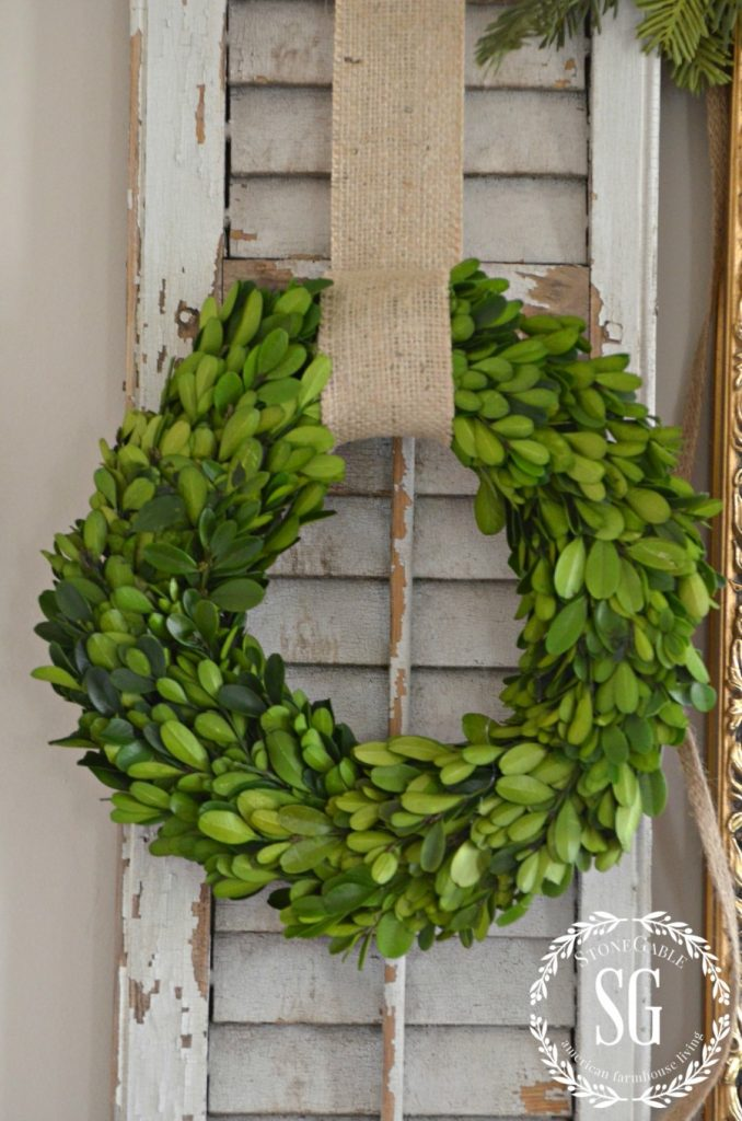 BON NOEL- HOW TO CREATE FRENCH CHRISTMAS DECOR-boxwood wreath-stonegableblog.com