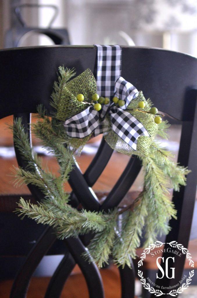 CHRISTMAS FARMHOUSE KITCHEN-WREATH -back of chair-stonegableblog.com