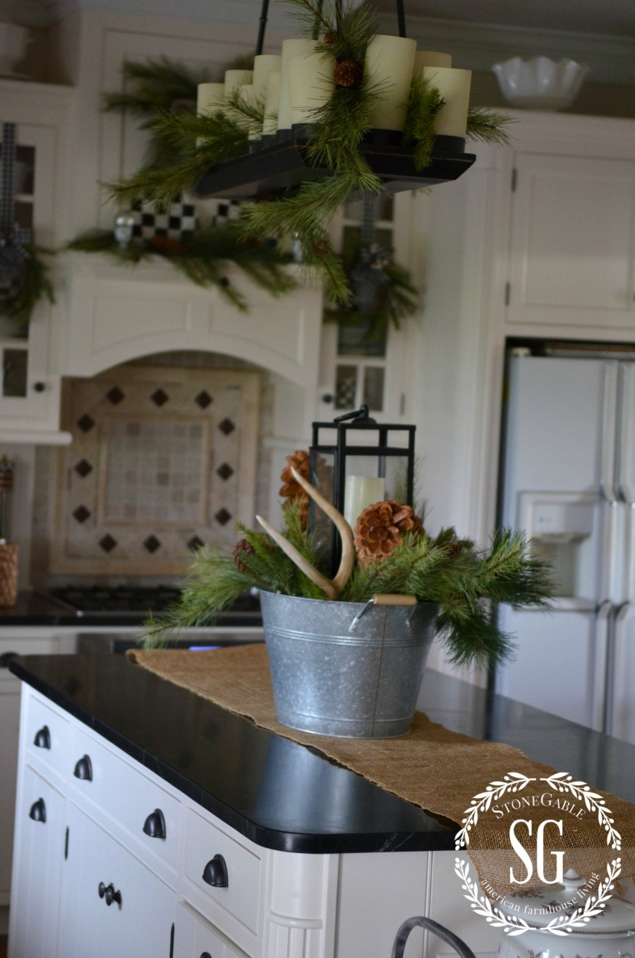 Farmhouse Wreaths On Kitchen Cabinets