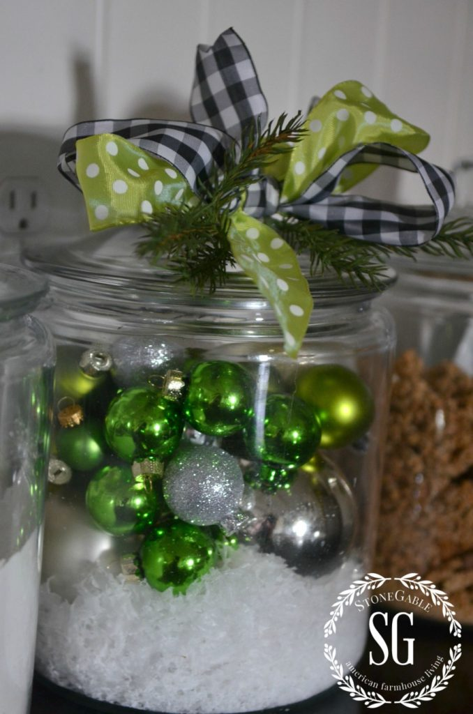 CHRISTMAS FARMHOUSE KITCHEN-christmas balls in big jar-stonegableblog.com