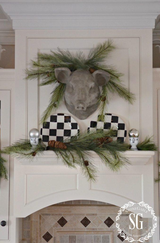 CHRISTMAS FARMHOUSE KITCHEN-stone pig with greens-stonegableblog.com