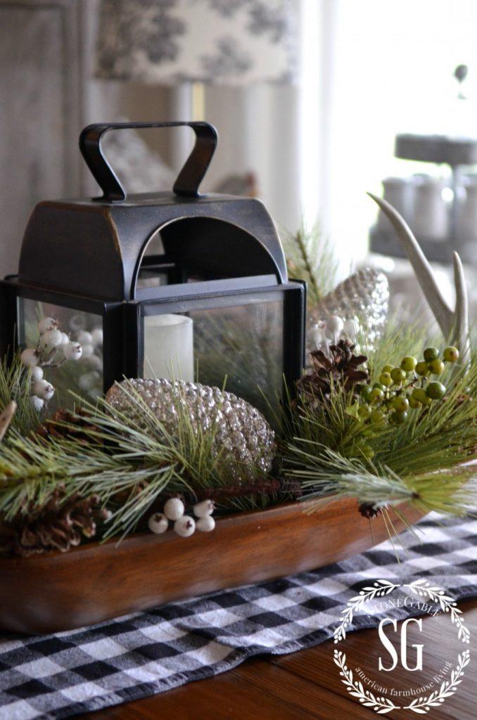 CHRISTMAS FARMHOUSE KITCHEN-white pine in dough bowl-stonegableblog.com