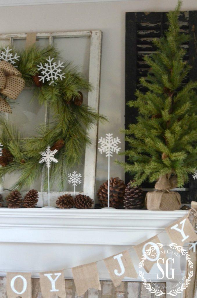 CHRISTMAS FARMHOUSE MANTEL-large pine tree-stonegableblog.com
