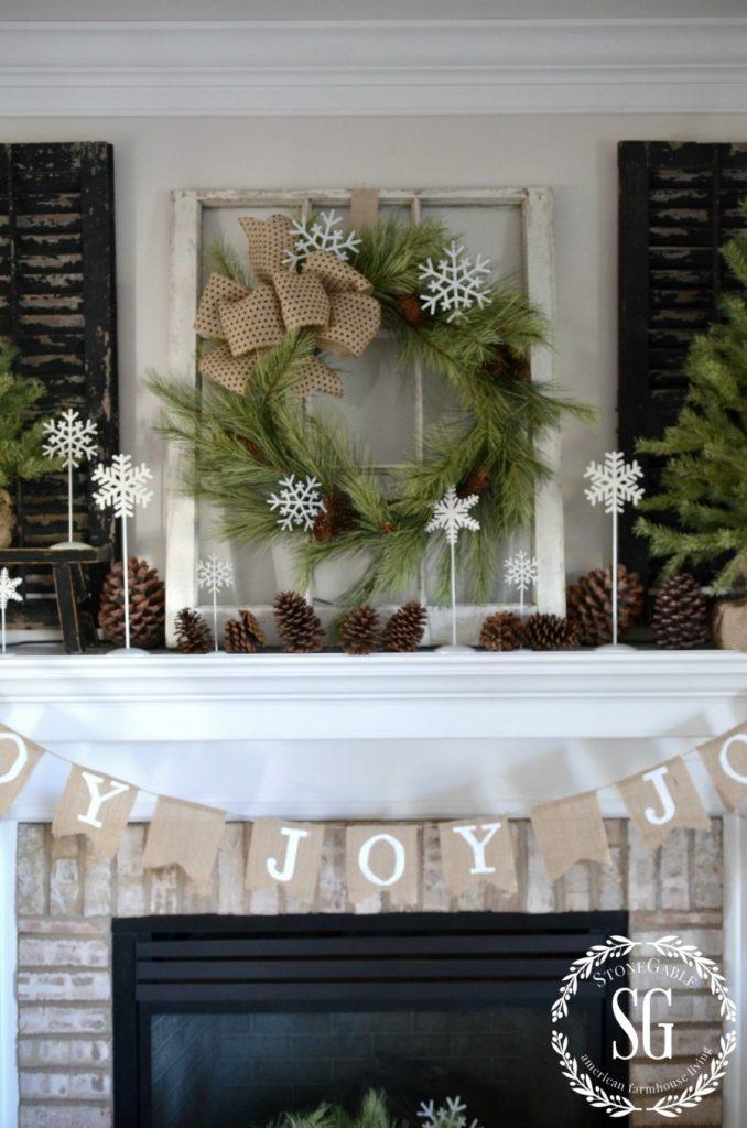 CHRISTMAS FARMHOUSE MANTEL-stonegableblog.com