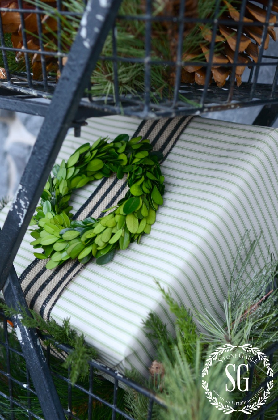 CHRISTMAS GIFT WRAP-boxwood wreath on package-stonegableblog.com