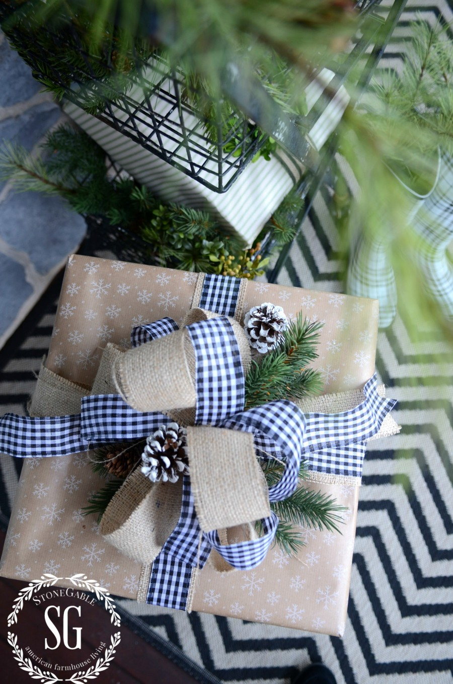 CHRISTMAS GIFT WRAP-brown paper with snowflakes-stonegableblog.com