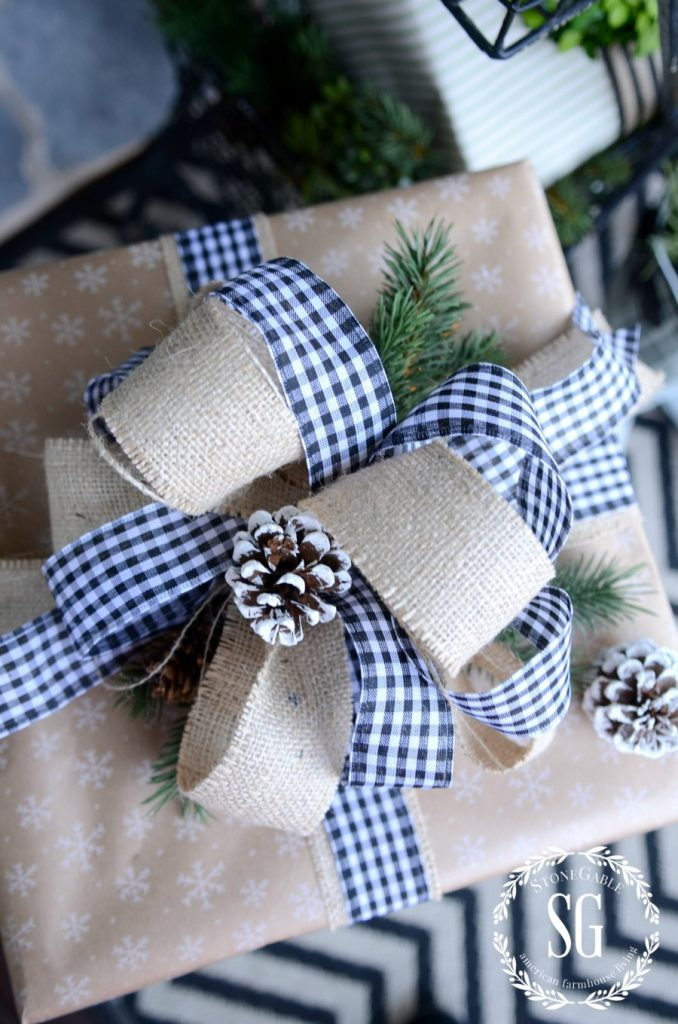 CHRISTMAS GIFT WRAP-burlap and check bow-stonegableblog.com