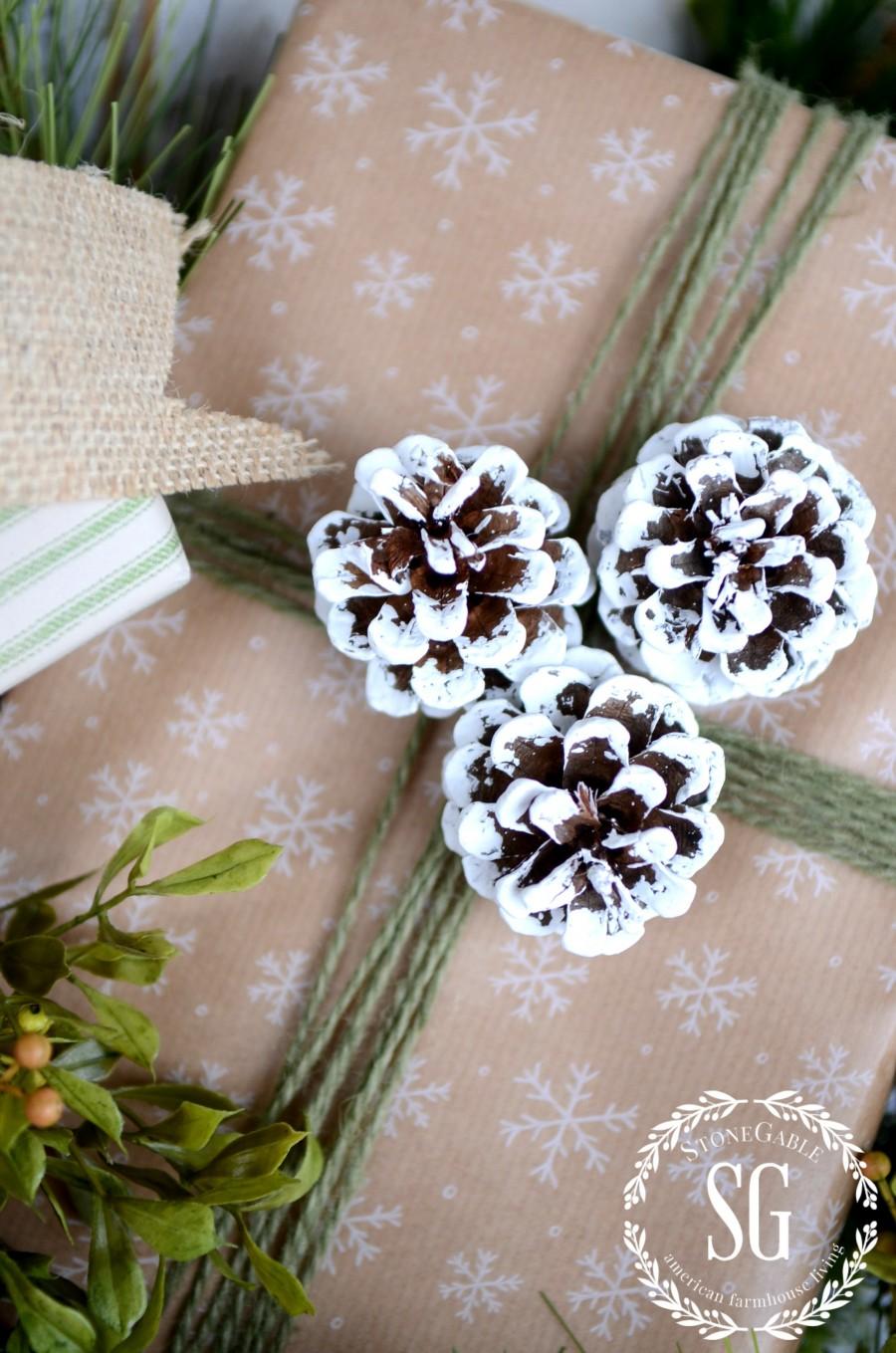 CHRISTMAS GIFT WRAP-gift with snowy pinecones-stonegableblog.com