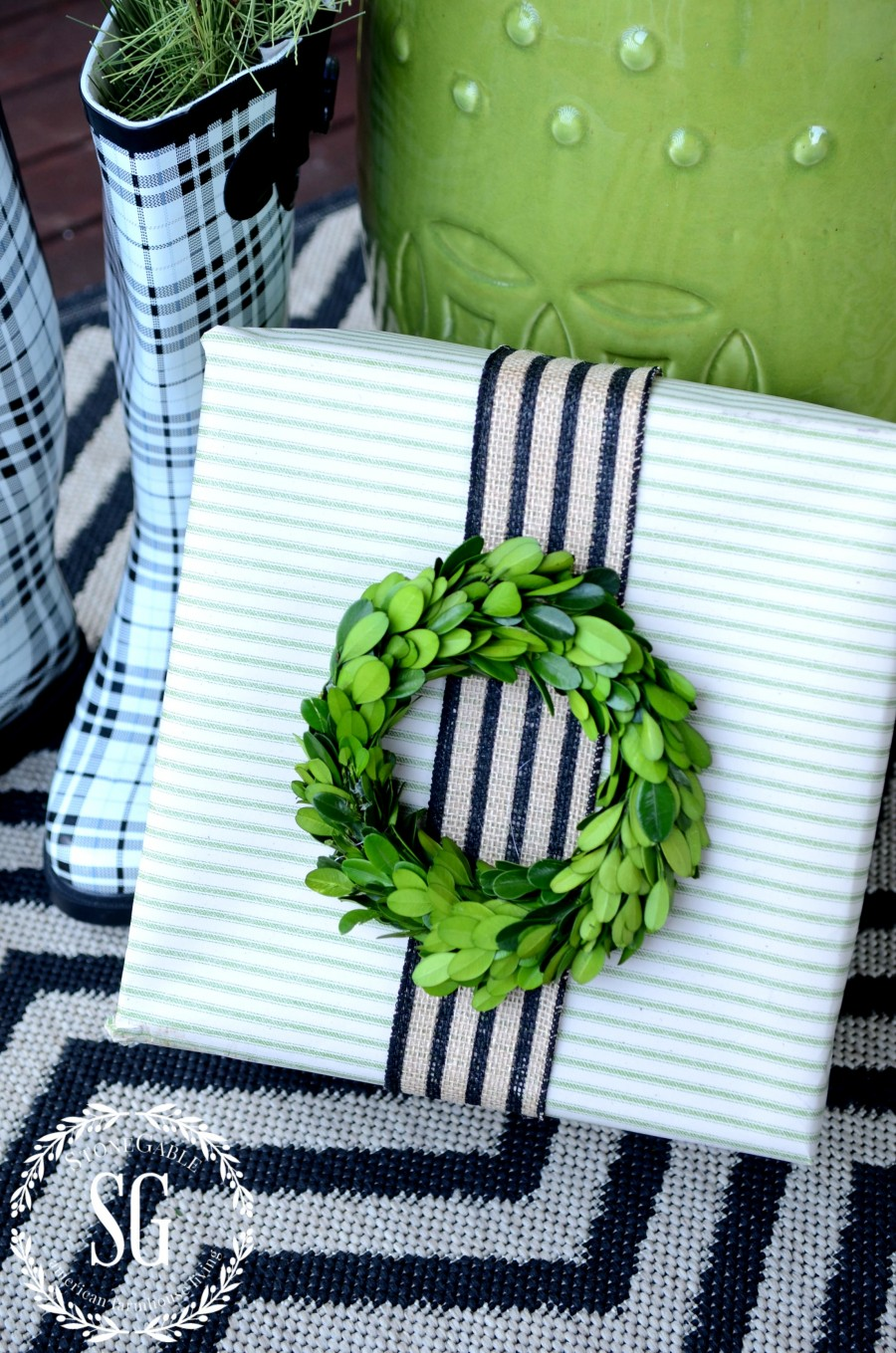 CHRISTMAS GIFT WRAP-green and natural striped gift-stonegableblog.com