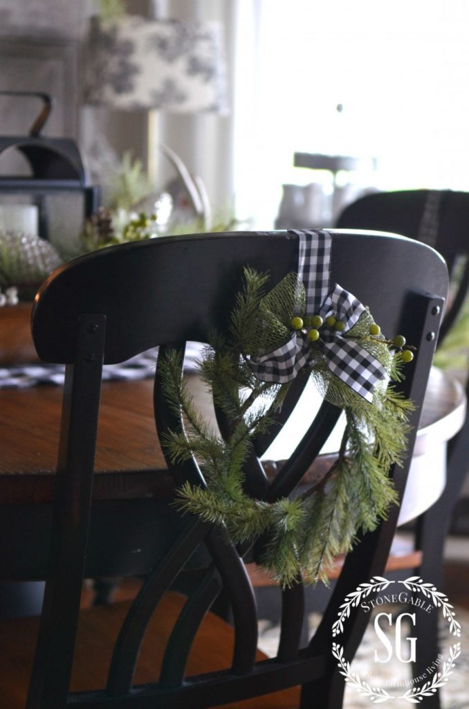 CHRISTMAS WREATH ON BACK OF KITCHEN CHAIR-stonegableblog.com