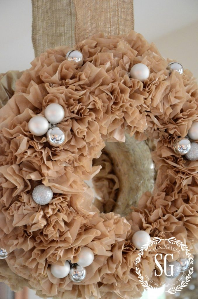 CREATIVE WAYS TO USE CHRISTMAS WREATHS-coffee filter wreath-stonegableblog.com