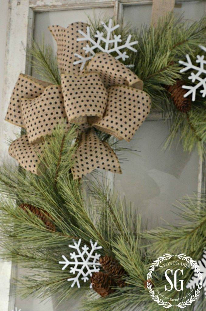 CREATIVE WAYS TO USE CHRISTMAS WREATHS-wreath on window-stonegableblog.com