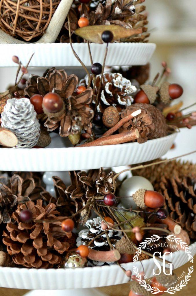 DECOR STEAL-pedestal tiered cake plates-woodland- pinecones-logo-stonegableblog.com