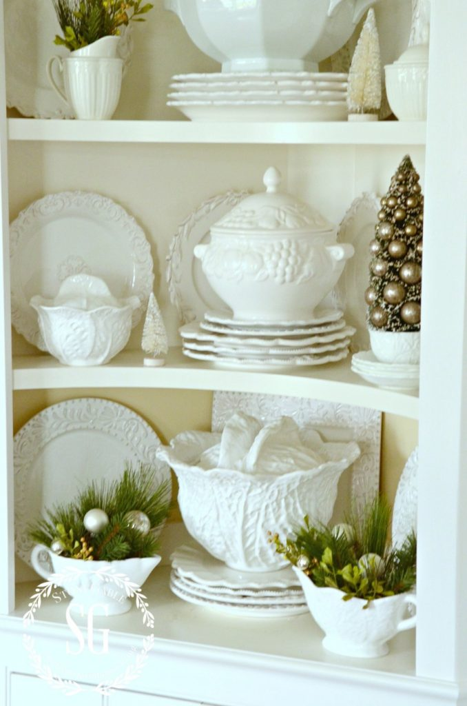 FRENCH INSPIRED CHRISTMAS IN THE DINING ROOM-built in-soup tureens-stonegableblog.com
