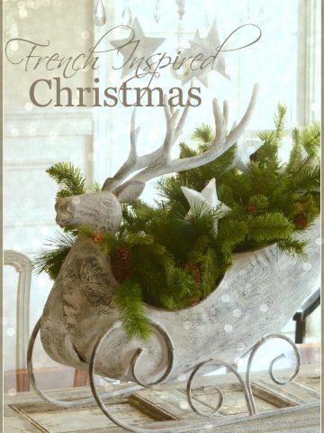 FRENCH INSPIRED CHRISTMAS IN THE DINING ROOM-reinndeer sleigh-stonegableblog.com
