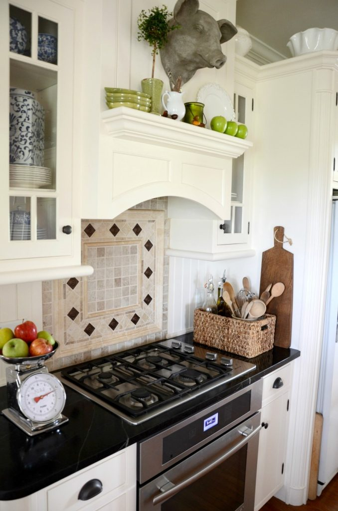 Farmhouse kitchen changes-cook top-oven hood-white kitchen-stonegableblog.com