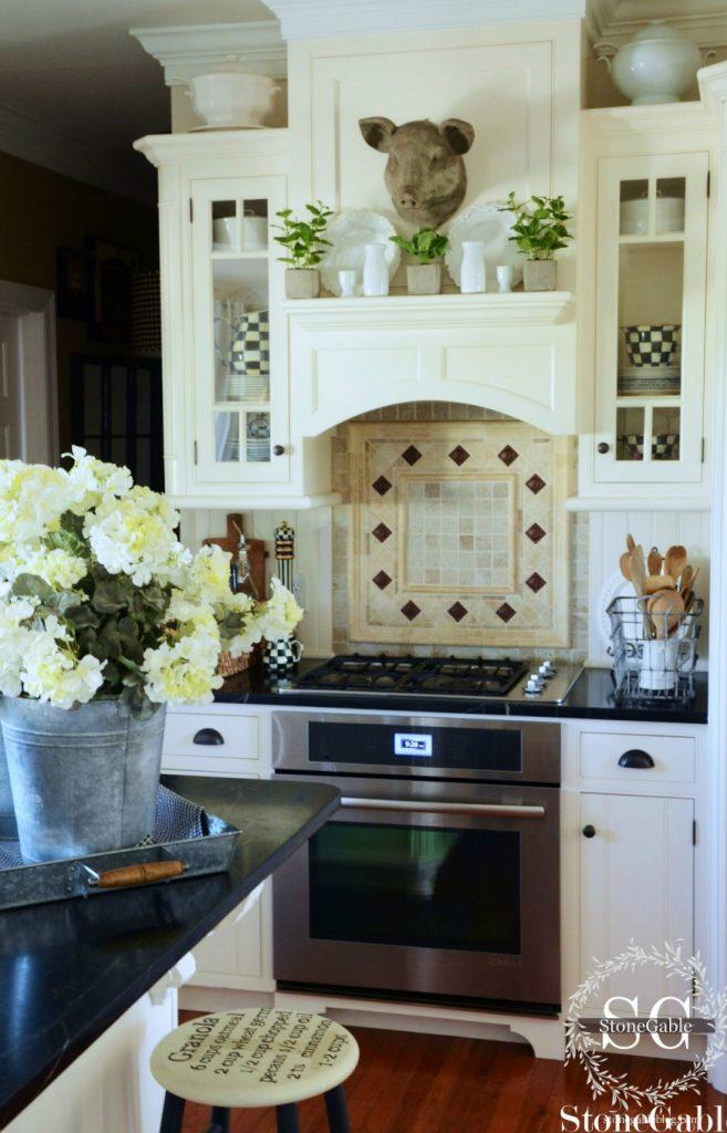 Farmhouse kitchen changes-glass front cabinets-stonegableblog.com