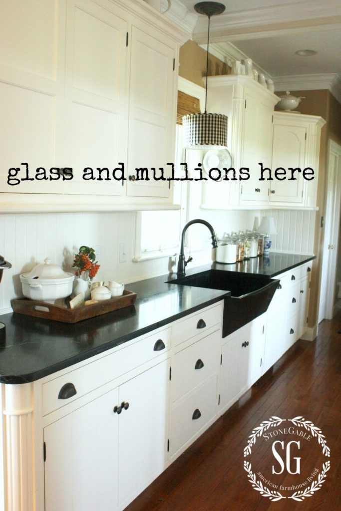 Farmhouse kitchen changes-glass front cabinets- to do -stonegableblog.com