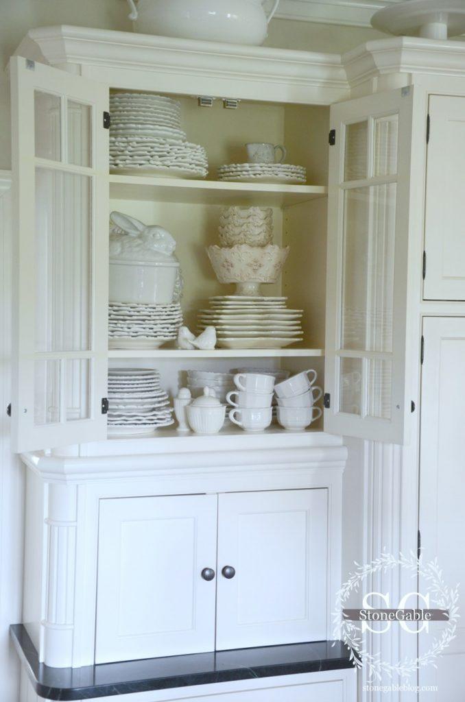 Farmhouse kitchen changes-glass front kitchen cabinets-stonegableblog.com