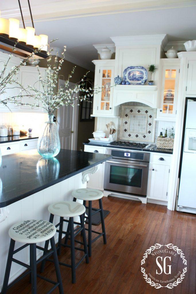 Farmhouse kitchen changes-kitchen stools-stonegableblog.com