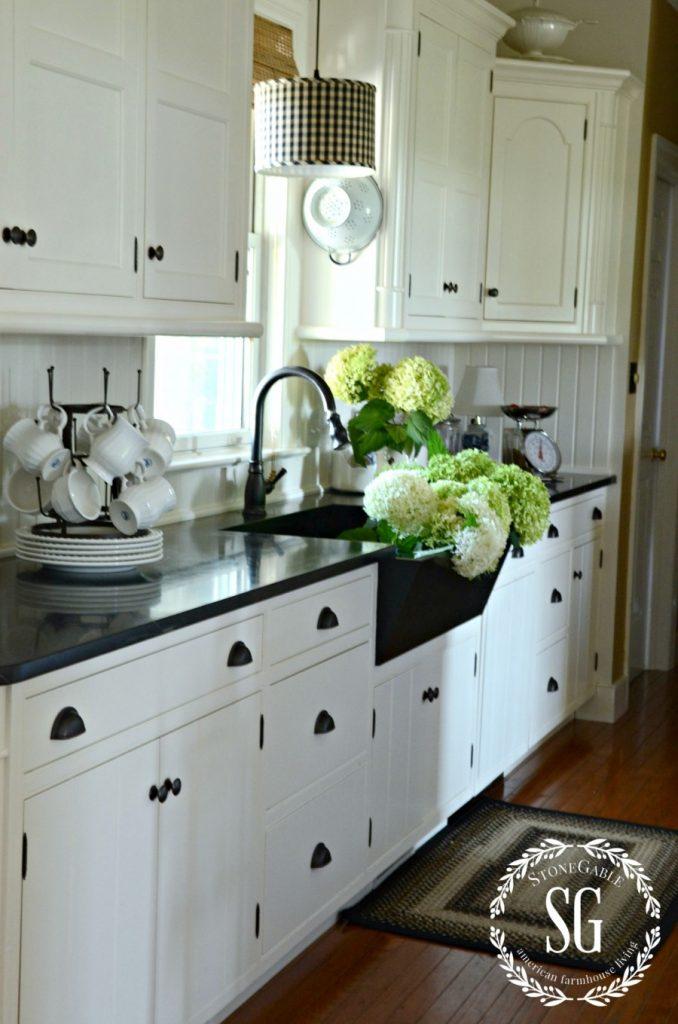 Farmhouse kitchen changes- new drum light-beadboard backsplash-stonegableblog.com