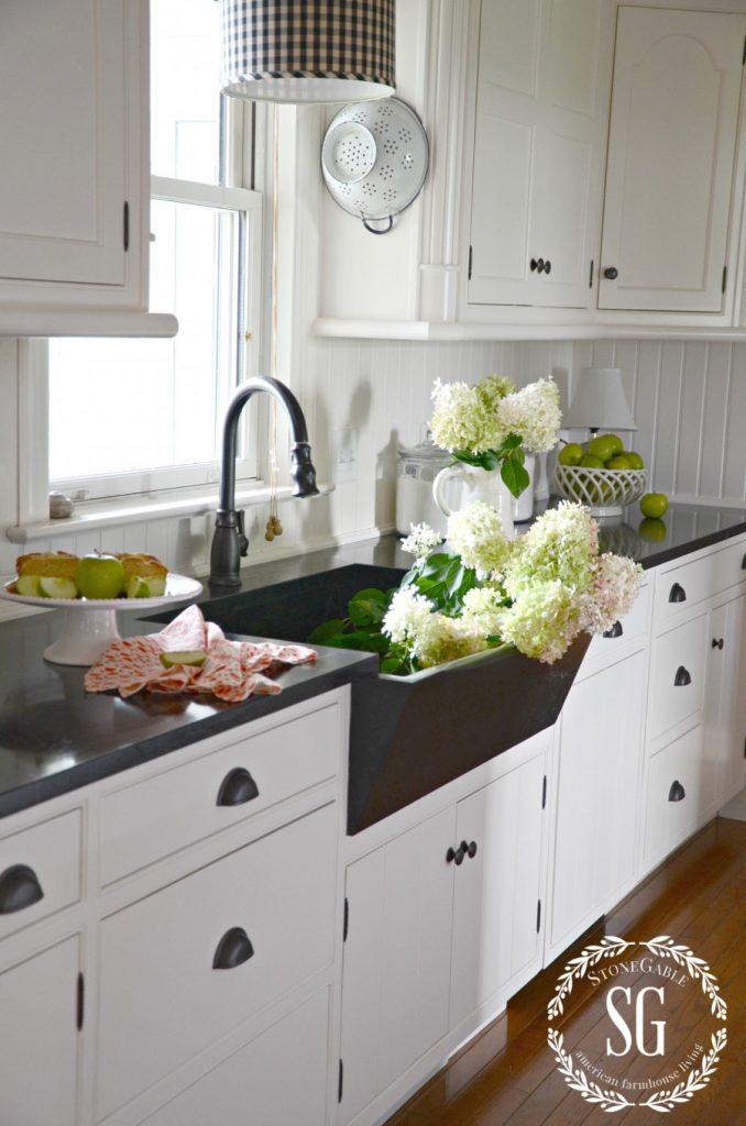 Farmhouse kitchen changes-soapstone counters-soapstone sink-stonegableblog.com