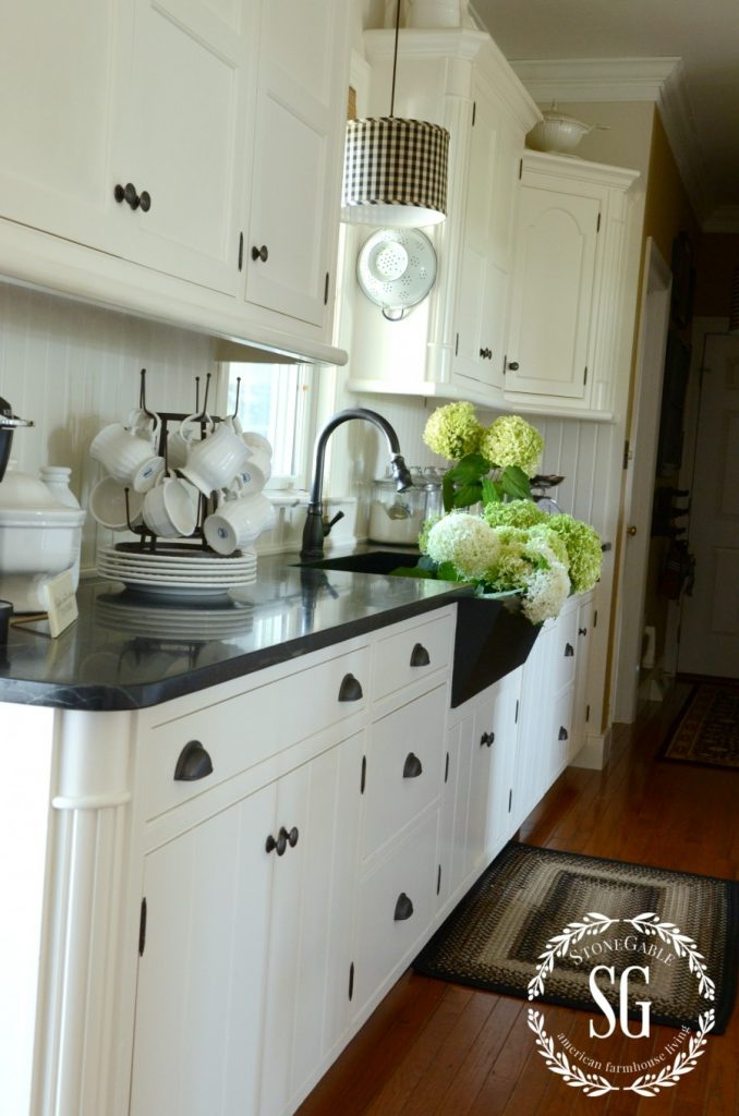Farmhouse kitchen changes-view of cabinets-stonegableblog.com