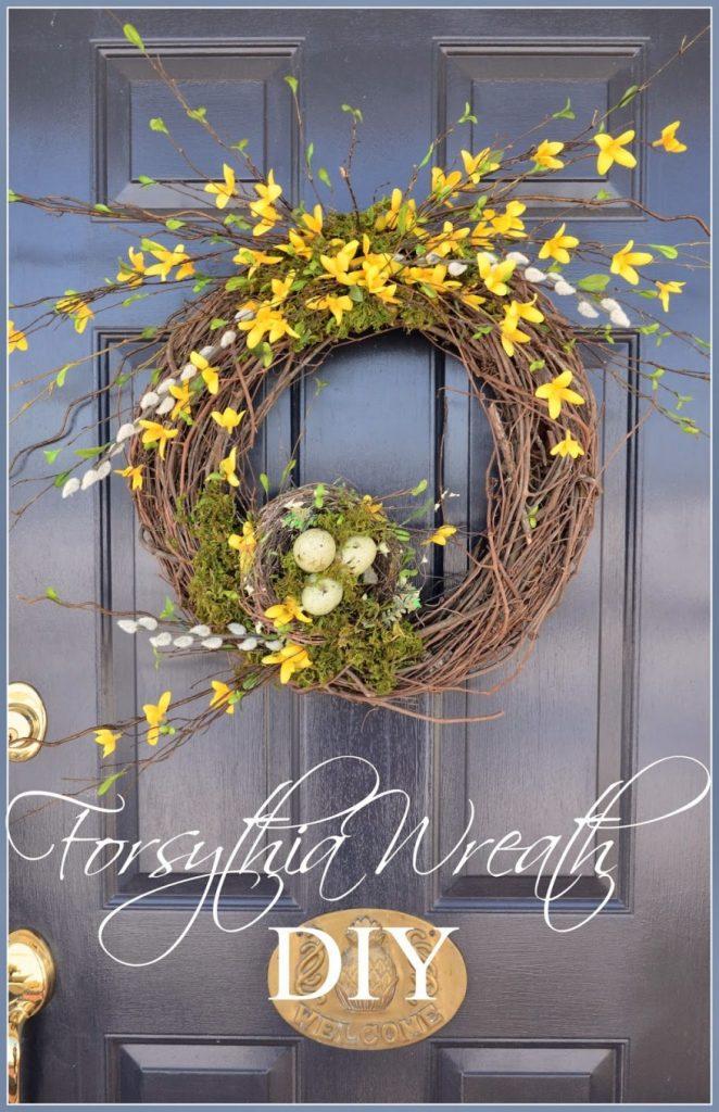 Forsythia Spring Wreath-TITLE PAGE- stonegableblog.com