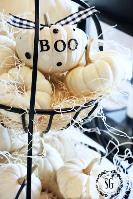 HOW TO ADD SEASONAL DECOR TO YOUR HOME-basket of white pumpkins-stonegableblog.com