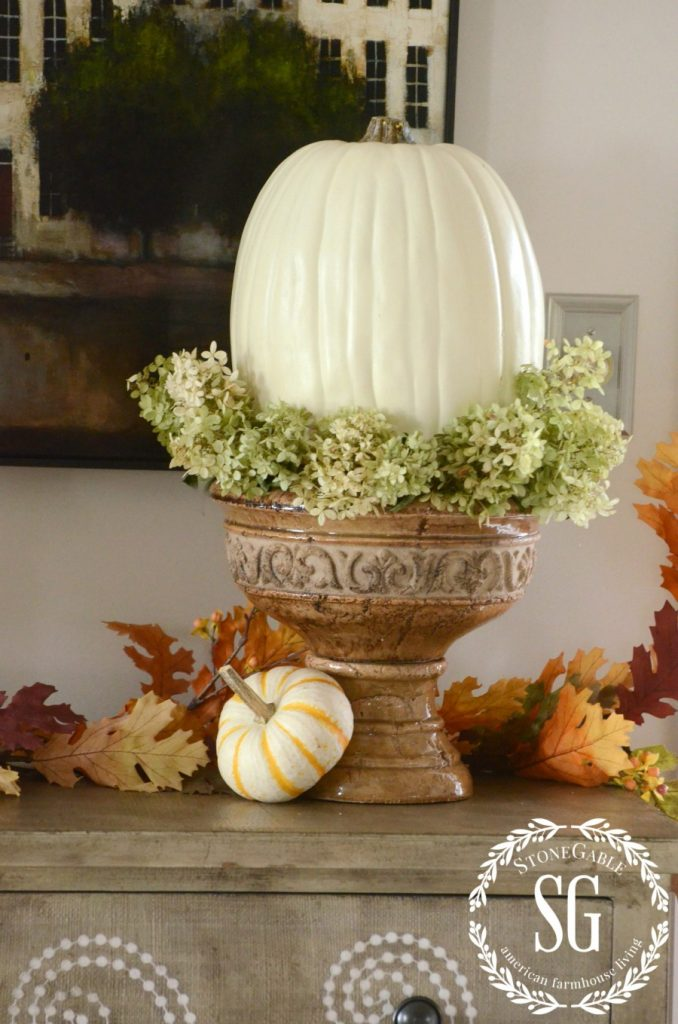HOW TO ADD SEASONAL DECOR TO YOUR HOME-big pumpkin in urn-stonegableblog.com