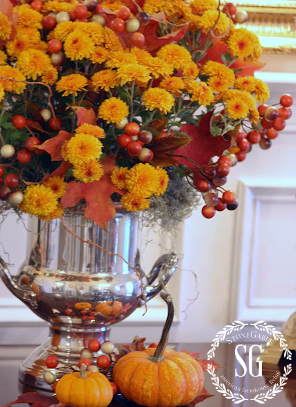 HOW TO ADD SEASONAL DECOR TO YOUR HOME-pumpkins in a champagne bucket-stonegableblog.com