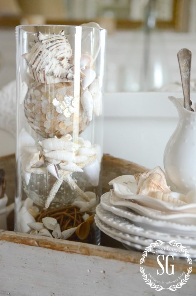 HOW TO ADD SEASONAL DECOR TO YOUR HOME-shells and dishes-stonegableblog.com