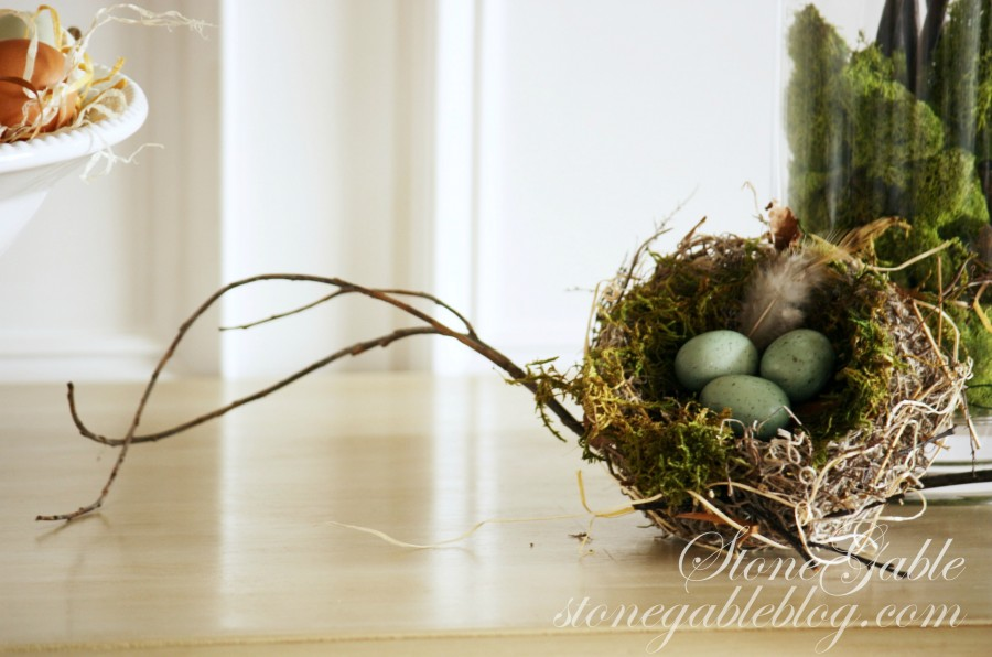HOW TO ADD SEASONAL DECOR TO YOUR HOME-spring nest and branches-stonegableblog.com