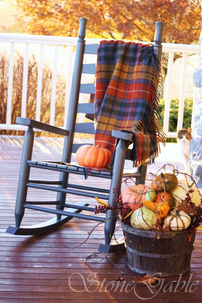 HOW TO ADD SEASONAL DECOR TO YOUR HOME-tartan blanket-stonegableblog.com