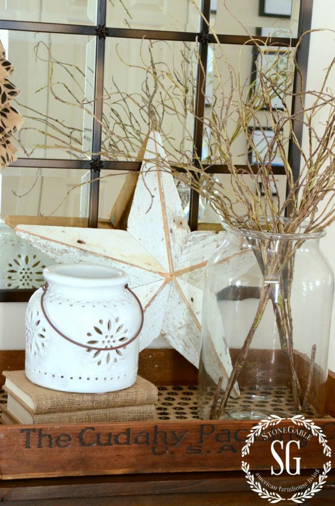 HOW TO ADD SEASONAL DECOR TO YOUR HOME-winter twigs in jar-stonegableblog.com