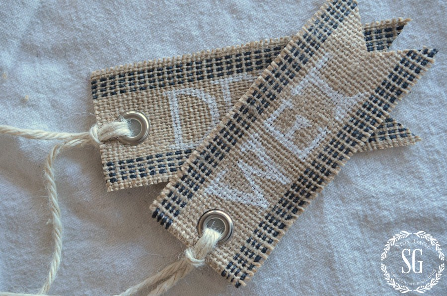 NO-SEW BURLAP TAGS- two burlap tags-stonegableblog.com