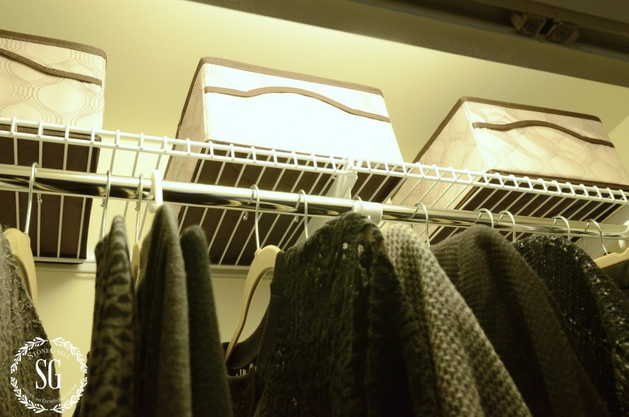 ORGANIZE AND TRANSFORM A CLOSET-hangers- top shelf cubbies-stonegableblog.com