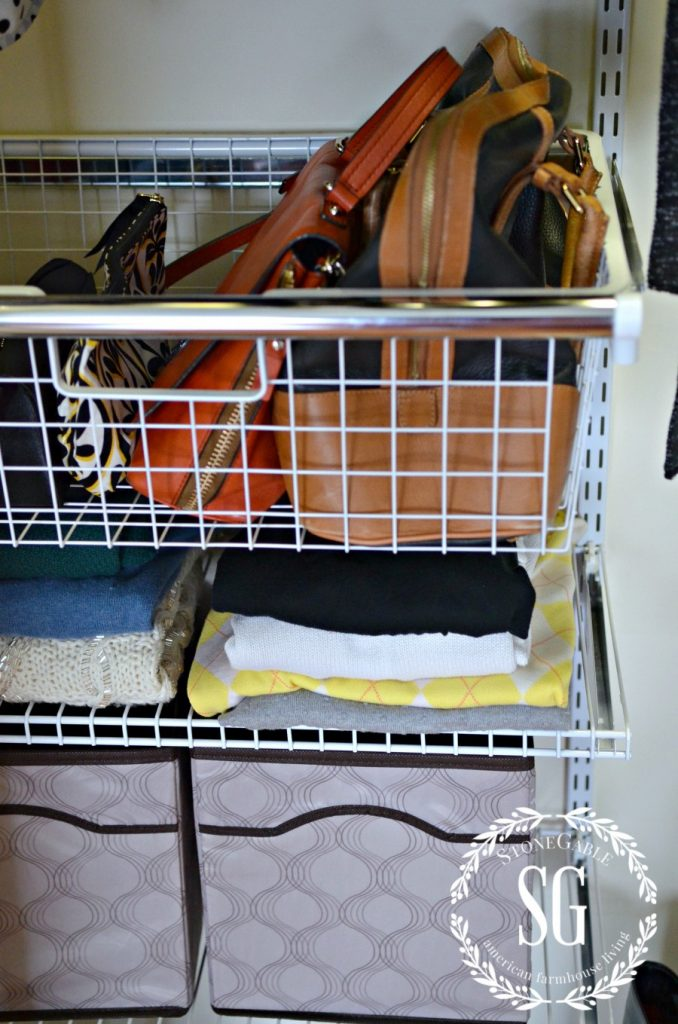 ORGANIZE AND TRANSFORM A CLOSET-shelves-pull out basket-stonegableblog.com