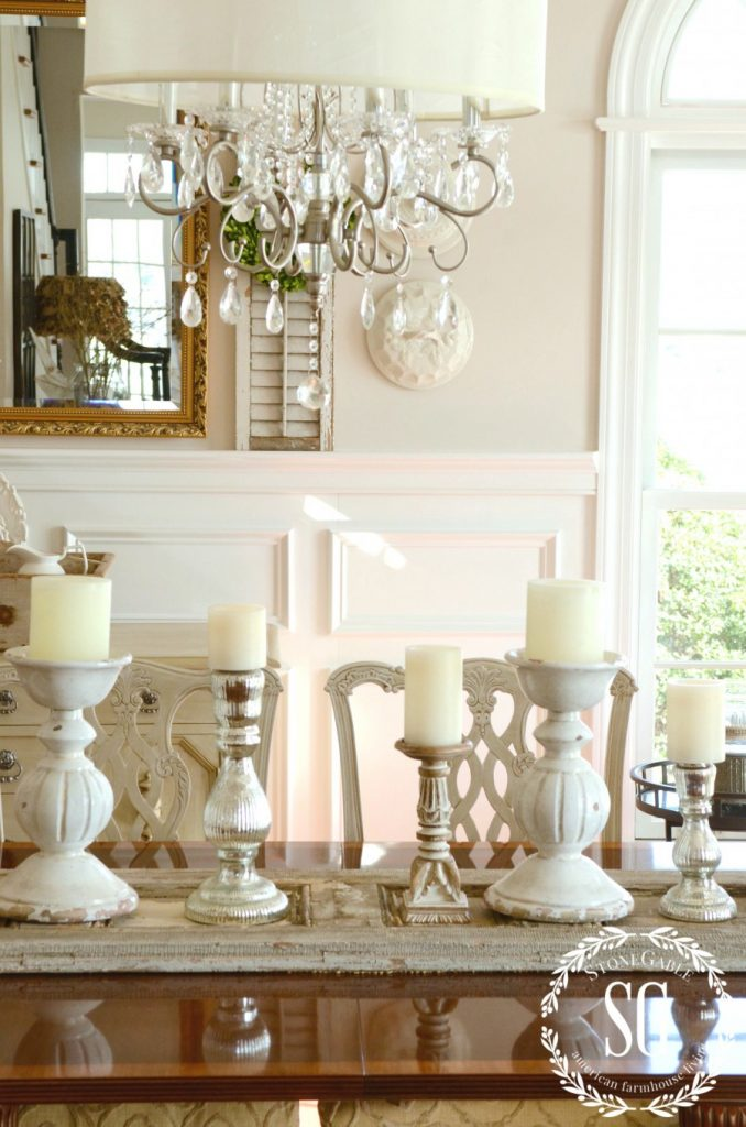 WINTER DECOR-adding candle glow and shutters- on dining room table-stonegableblog.com