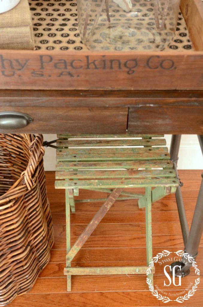 WINTER FOYER-big basket-chippy folding seat-stonegableblog.com
